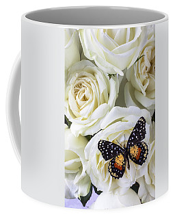 Speckled Butterfly On White Rose Coffee Mug