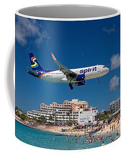 Spirit Airlines Low Approach To St. Maarten Coffee Mug