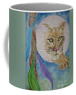Coffee Mug featuring the painting Spirit Of The Mountain Lion by Ellen Levinson