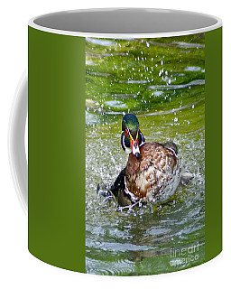 Splashdown - Wood Duck Coffee Mug by Adam Olsen