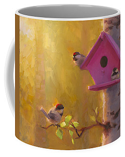 Spring Chickadees 1 - Birdhouse And Birch Forest Coffee Mug