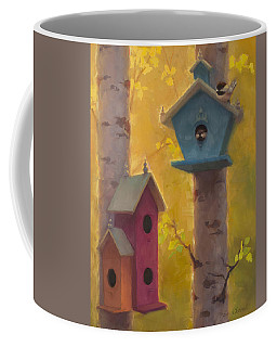 Spring Chickadees 2 - Birdhouse And Birch Forest Coffee Mug