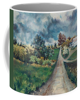 Coffee Mug featuring the painting Spring Farm by Joy Nichols