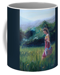 Coffee Mug featuring the painting Spring Stroll by Donna Tuten