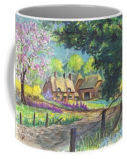 Coffee Mug featuring the painting Springtime Cottage by Carol Wisniewski