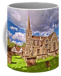 Coffee Mug featuring the digital art St Cyriac Church Lacock by Paul Gulliver
