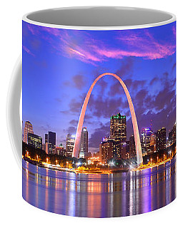 St. Louis Skyline At Dusk Gateway Arch Color Panorama Missouri Coffee Mug