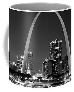 St. Louis Skyline At Night Gateway Arch Black And White Bw Panorama Missouri Coffee Mug