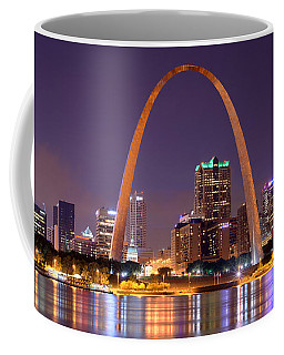 St. Louis Skyline At Night Gateway Arch Color Panorama Missouri Coffee Mug