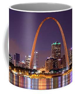 St. Louis Skyline At Night Gateway Arch Color Panorama Missouri Coffee Mug