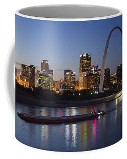 St Louis Skyline With Barges Coffee Mug
