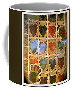 Coffee Mug featuring the photograph Stained Glass Hands And Hearts by Kathy Barney