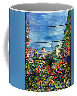 Stained Glass Tiffany Landscape Window With Sailboat Coffee Mug