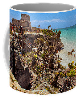 Stairway To The Tulum Beach  Coffee Mug by John M Bailey