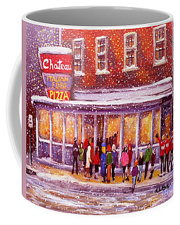 Coffee Mug featuring the painting Standing In Line At The Chateau by Rita Brown