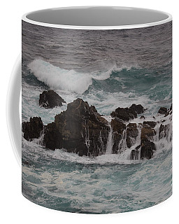 Coffee Mug featuring the photograph Standing Up To The Waves by Suzanne Luft