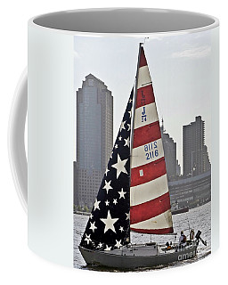 Coffee Mug featuring the photograph Star Spangled Sail  by Lilliana Mendez