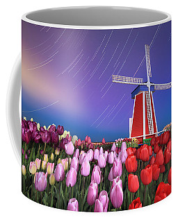 Coffee Mug featuring the photograph Star Trails Windmill And Tulips by William Lee