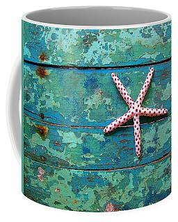 Seashore Peeling Paint - Starfish And Turquoise Coffee Mug