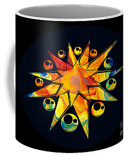 Coffee Mug featuring the painting Staring Into Eternity Abstract Stars And Circles by Omaste Witkowski