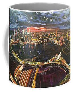 Coffee Mug featuring the painting Starry Night With Vincent In The Year 2014 by Belinda Low