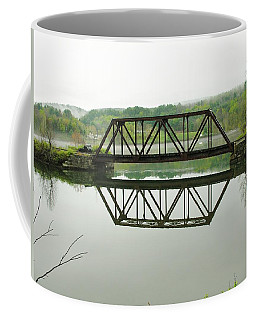 Coffee Mug featuring the photograph Vermont Steel Railroad Trestle On A Calm  Misty Morning by Sherman Perry