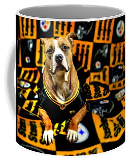 Pitbull Rescue Dog Football Fanatic Coffee Mug by Shelley Neff