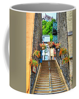 Coffee Mug featuring the photograph Steps Of Old Quebec by Mel Steinhauer