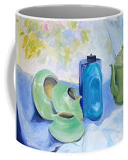 Oil Painting Still Life Study Of Blue And Green Pottery Coffee Mug