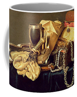 Still Life Of A Jewellery Casket Books And Oysters Coffee Mug