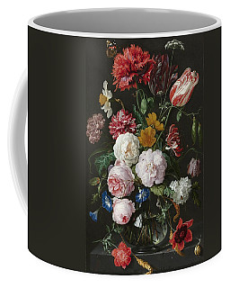 Still Life With Flowers In Glass Vase Coffee Mug