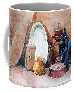 Watercolor Still Life With Rustic, Old Miners Lamp Coffee Mug