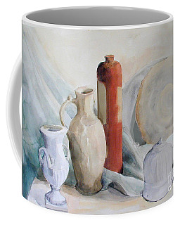 Watercolor Still Life With Pottery And Stone Coffee Mug