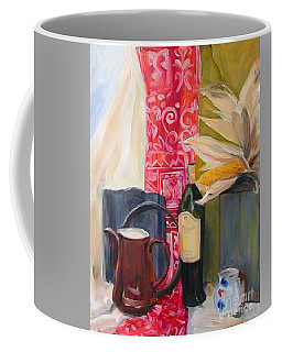 Oil Painting Still Life With Red Cloth And Pottery Coffee Mug