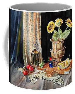 Still Life With Sunflowers Lemon Apples And Geranium  Coffee Mug