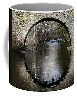 Coffee Mug featuring the photograph Stone Arch Bridge - Craquelure Texture by Ericamaxine Price