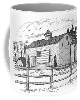 Stone Ridge Barn With Flag Coffee Mug