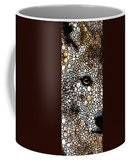 Stone Rock'd Wolf Art By Sharon Cummings Coffee Mug