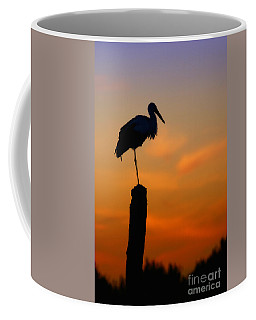 Storck In Silhouette High On A Pole Coffee Mug