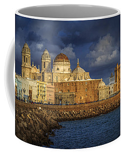 Stormy Skies Over The Cathedral Cadiz Spain Coffee Mug