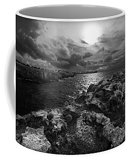 Blank And White Stormy Mediterranean Sunrise In Contrast With Black Rocks And Cliffs In Menorca  Coffee Mug by Pedro Cardona