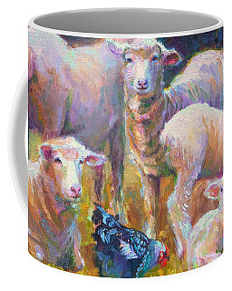 Coffee Mug featuring the painting Stranger At The Well - Spring Lambs Sheep And Hen by Talya Johnson