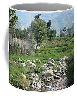 Stream Trees House And Mountains Swat Valley Pakistan Coffee Mug