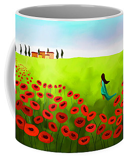 Strolling Among The Red Poppies Coffee Mug by Anita Lewis
