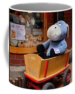 Stuffed Donkey Toy In Wooden Barrow Cart Coffee Mug