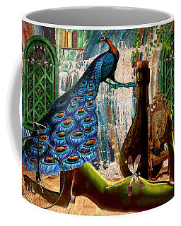 Coffee Mug featuring the painting Suck My Peacock by Ally  White