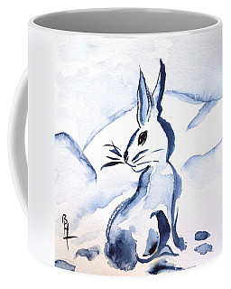 Sumi-e Snow Bunny Coffee Mug by Beverley Harper Tinsley
