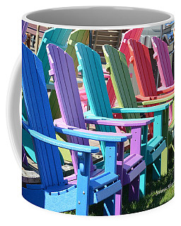 Coffee Mug featuring the photograph Summer Beach Chairs by Jeannie Rhode