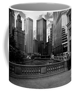Summer On The Chicago River - Black And White Coffee Mug