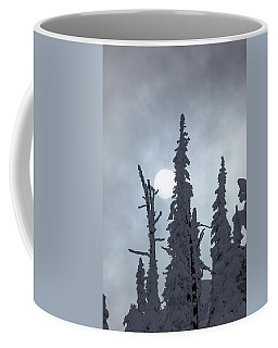 Sun Behind Snow Covered Trees Coffee Mug
